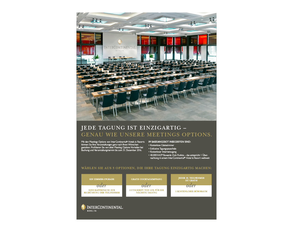 Plakat Meeting Options – InterContinental Berlin