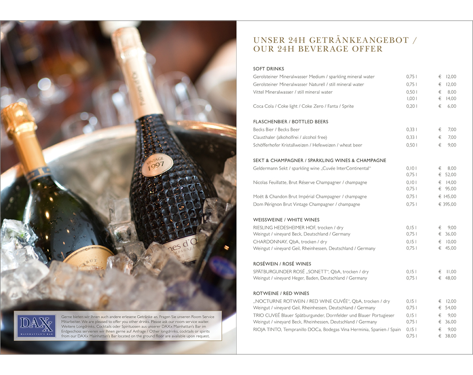 Room Service Karte – InterContinental Frankfurt