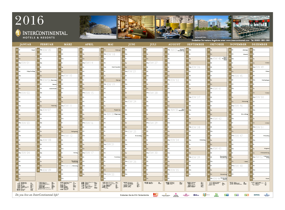 InterContinental Wandkalender