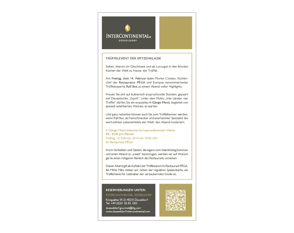 Trüffel-Flyer – InterContinental Düsseldorf
