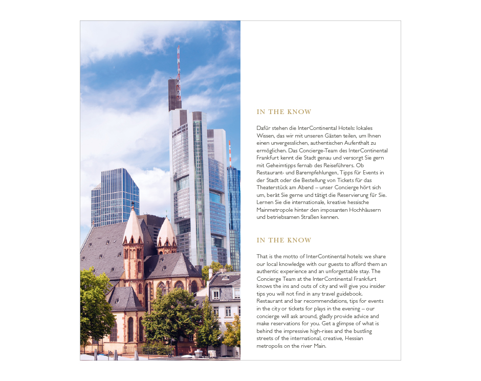 Hausbroschüre InterContinental Frankfurt
