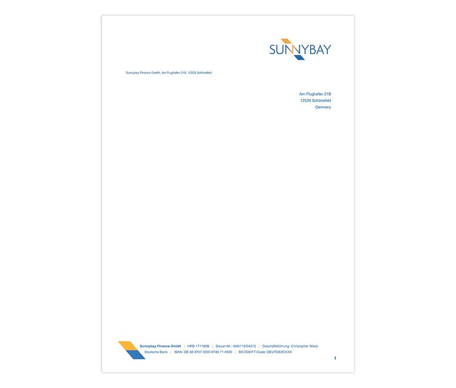 Briefvorlage – Sunnybay
