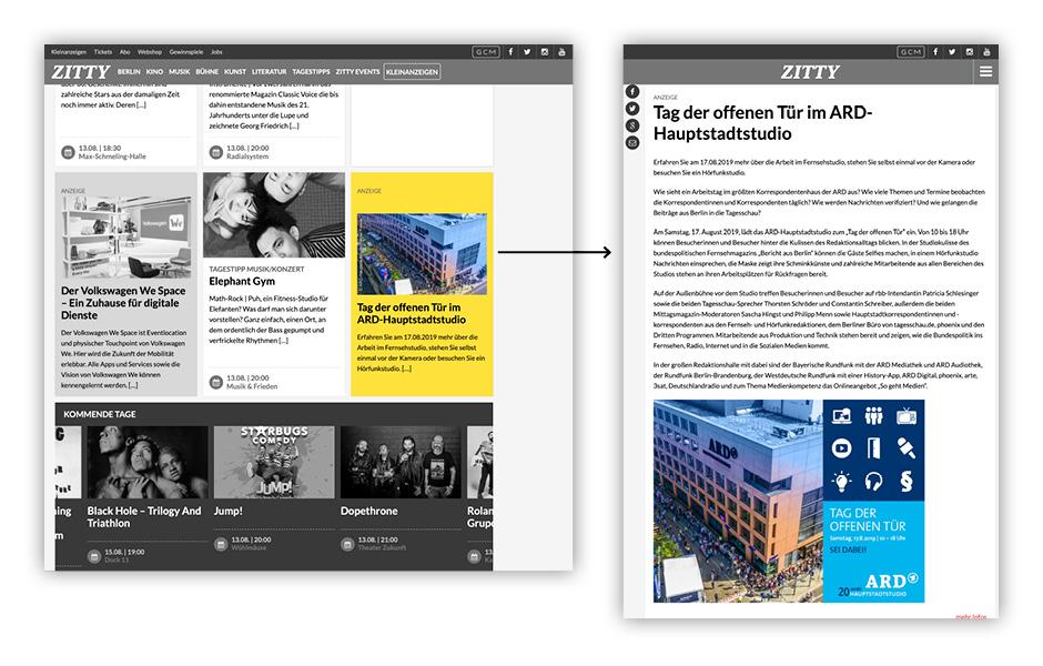 Erweiterte Content-Ad zitty Tag der offenen Tür 2019